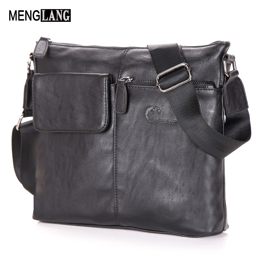 Genuine leather Men Bag Male Messenge Men Crossbody Bag Black Sheepskin Casual 15 Inch laptop Bag For Men Travel Shoulder Bag