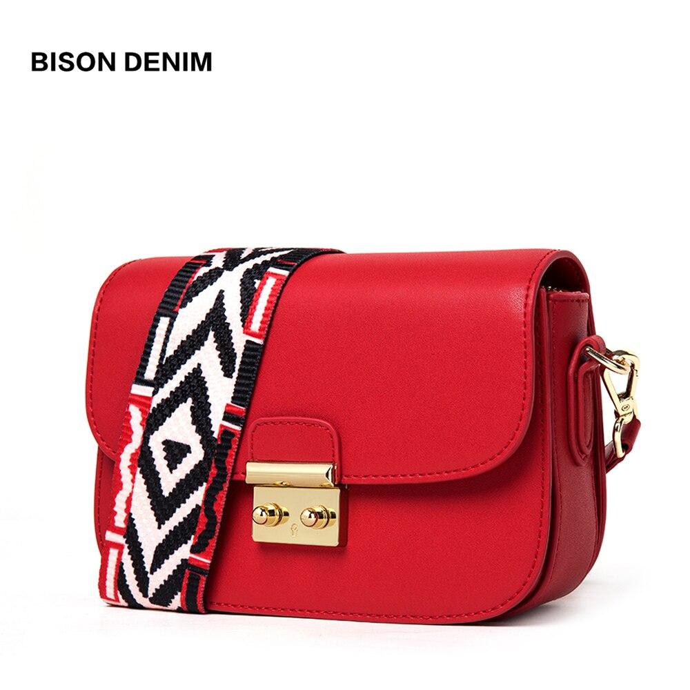 BISON DENIM Crossbody sacs pour femmes en cuir de vache femmes sac dame Messenger sac dame mode sac à bandoulière N1543