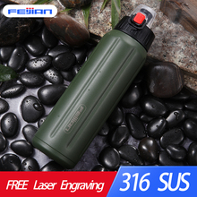 FEIJIAN Sport Thermos Bottle Shaker Water Double Wall Stainless Steel Vacuum Flask Tumbler Portable Tritan Lid BPA Free