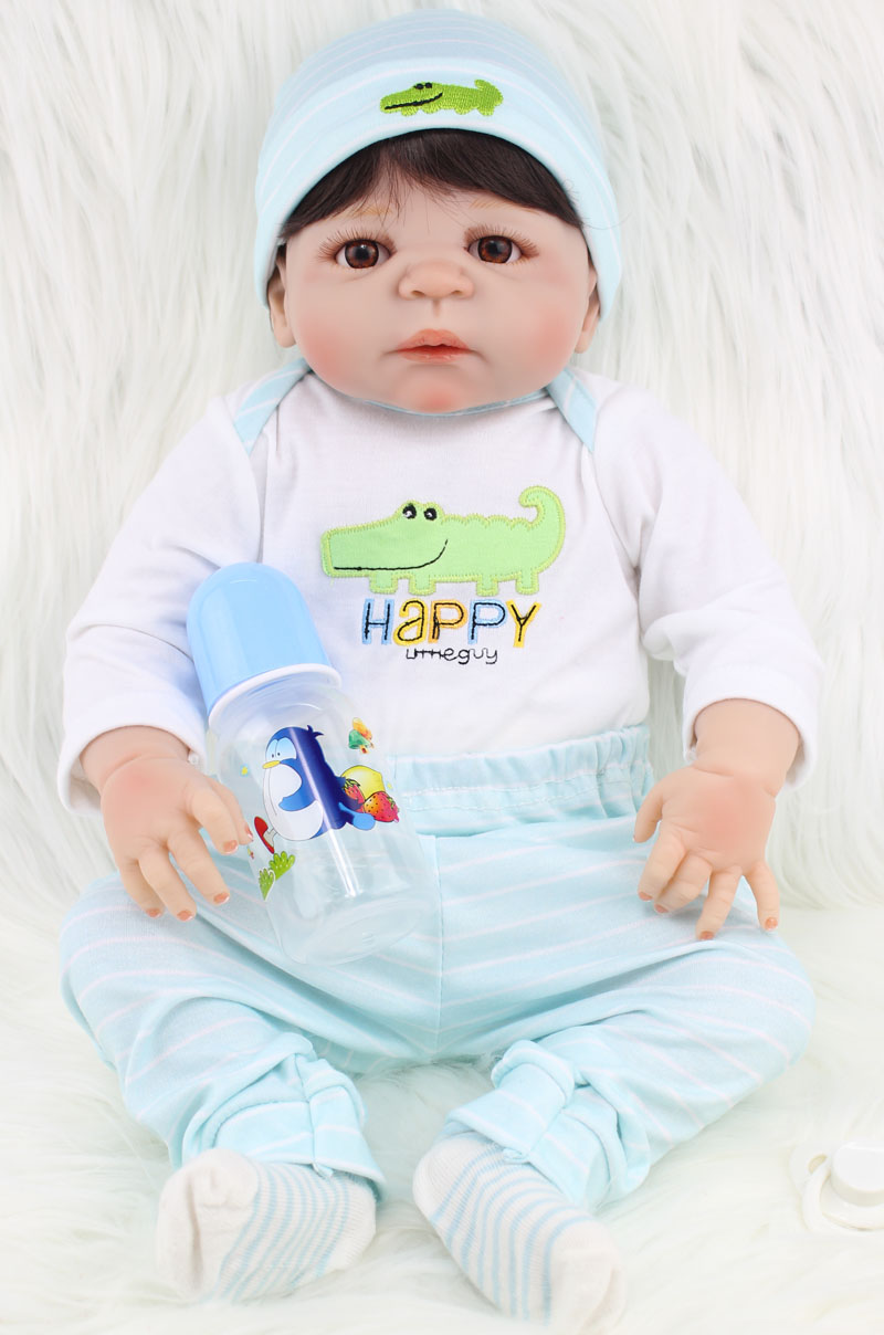 New 55cm Full Body Silicone Reborn Baby Doll Toy Lifelike Newborn Boy Babies Toddler Doll Lovely Birt hday Gif t Girl Brinquedos npkcollection full silicone reborn baby doll toy lifelike 55cm newborn boy babies doll lovely birt hday gif t for girl bathe toy