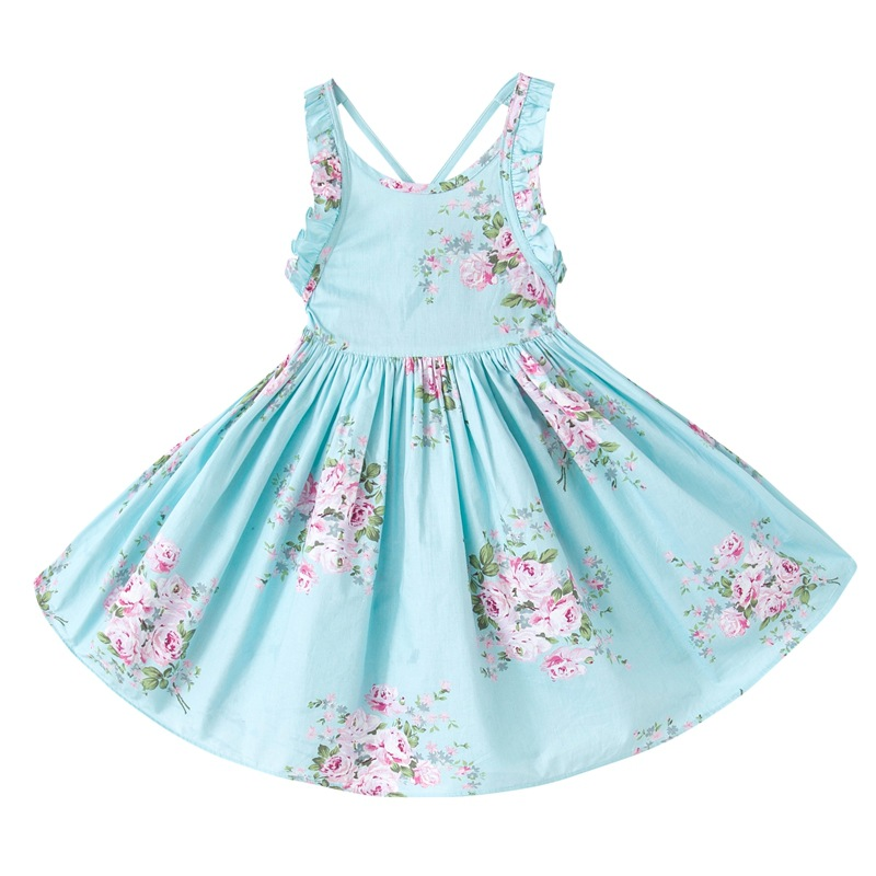 Baby Girls Dress Brand Summer Beach Style Floral Print Party Backless Dresses For Girls Vintage Toddler