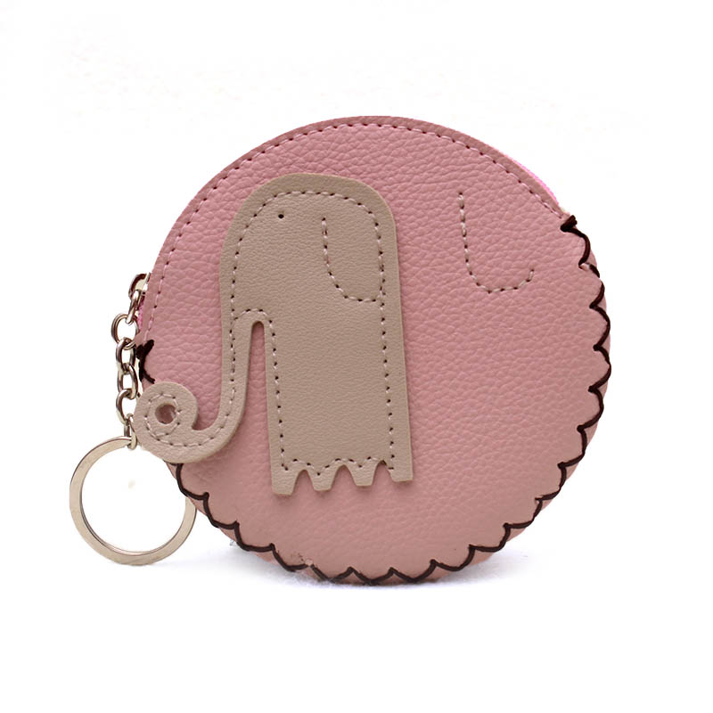 New 2018 Cartoon Elephant PU Leather Coin Purse Women Zipper Change Purse Wallet Girls Pouch Small Money Bag For Kids Gift thinkthendo 3 color retro women lady purse zipper small wallet coin key holder case pouch bag new design