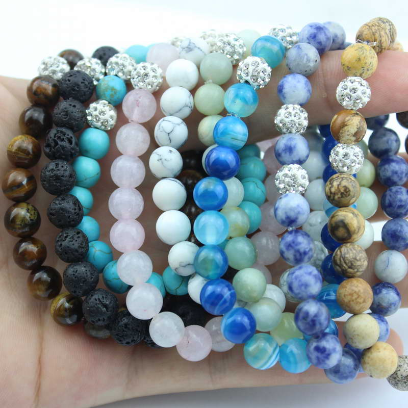 Natural Stone Beads Stacked Bracelet for Women Crystals Ball Charm Luxury Semi-precious Stones Stretch Bracelets