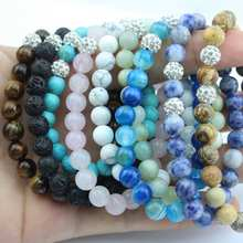 Natural Stone Beads Stacked Bracelet for Women Crystals Ball Charm Luxury Semi-precious Stones Stretch Turquoise Bracelets