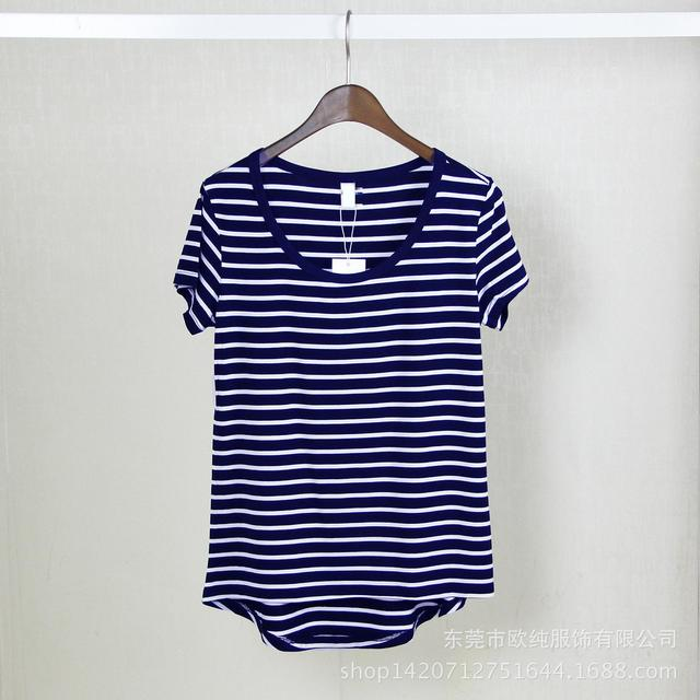 Modal Loose Summer Short Sleeves Stripes t-shirt O Neck T Shirts Ladies tops Tee Shirt Femme Clothes Plus Size Women Clothing