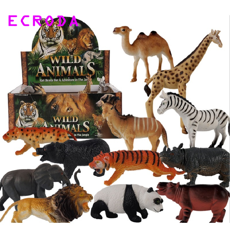 12 Pieces/lot Jungle Wild Animals Toy Figures Panda Camel