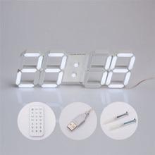 USB 3D Modern Digital LED Home Wall Clock Timer alarm 24/12 Hour Display Free shipping A10