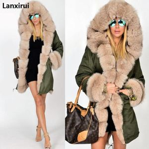 Image 1 - Plus size S 5XL casaco de inverno nova moda feminina com capuz casaco de pele do falso algodão velo feminino parkas hoodies casaco longo