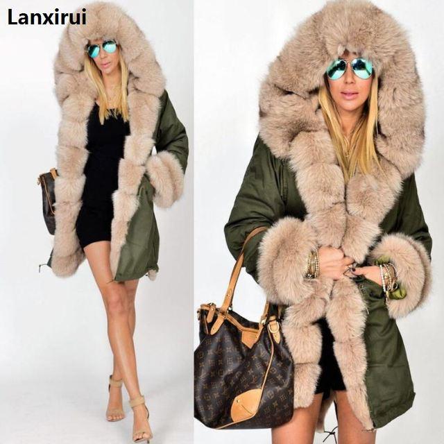 Plus size S 5XL casaco de inverno nova moda feminina com capuz casaco de pele do falso algodão velo feminino parkas hoodies casaco longo