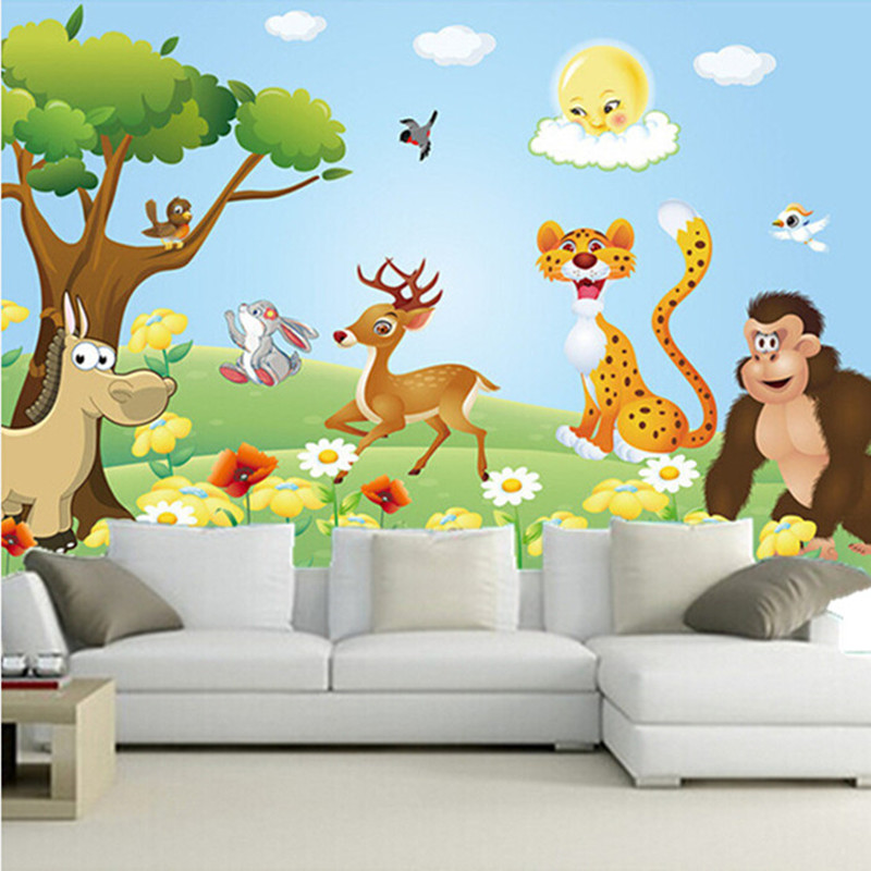 Custom 3D murals,lovely cartoon animals papel de parede, school restaurant living room sofa tv wall children's bedroom wallpaper custom 3d murals cartoon wolf papel de parede hotel restaurant coffee shop living room sofa tv wall children bedroom wallpaper