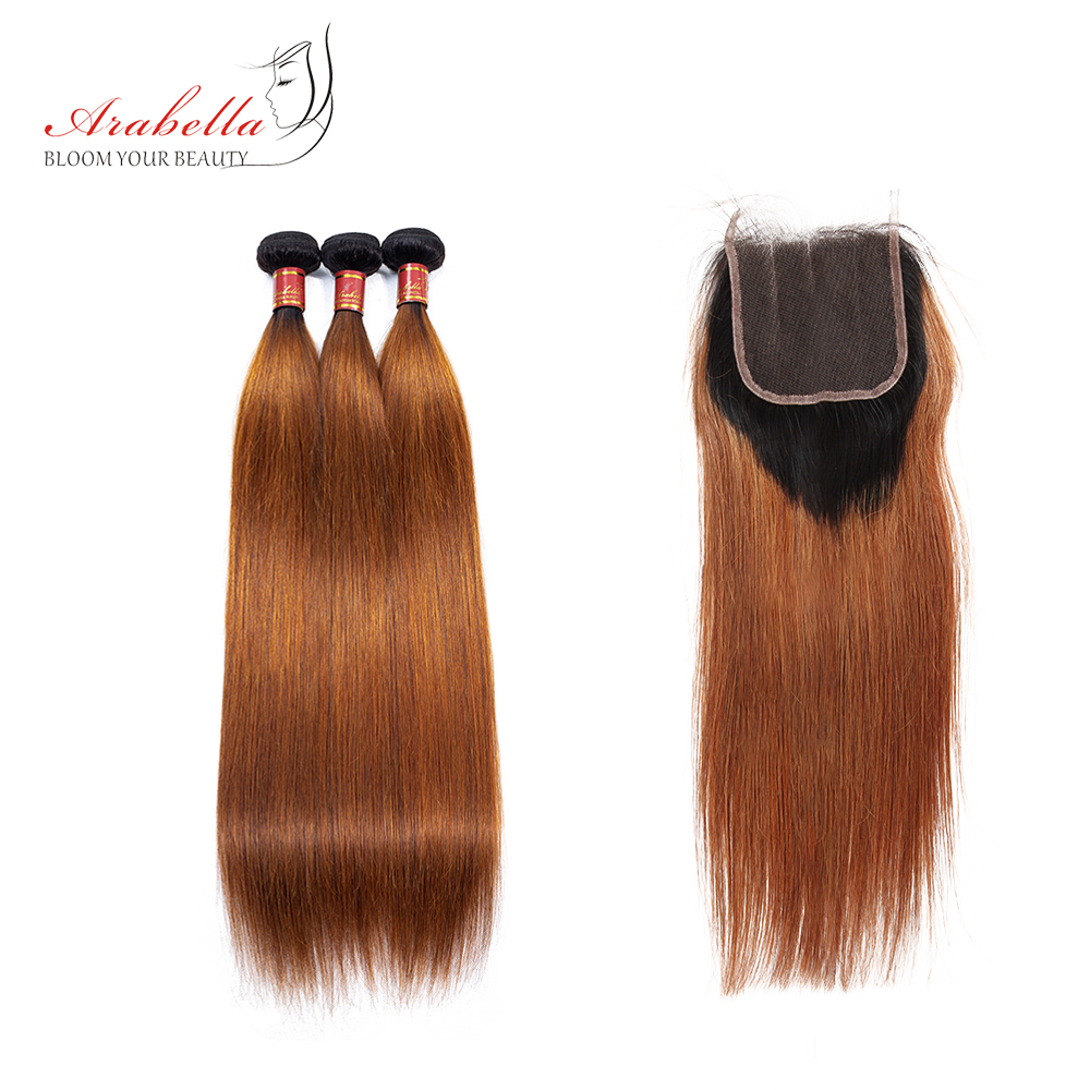 Arabella Brazilian T1B/30 Natural Straight With Lace Closure 100% Human Remy Hair Bundles With 4X4 Lace Closure 3pcs+1 Closure
