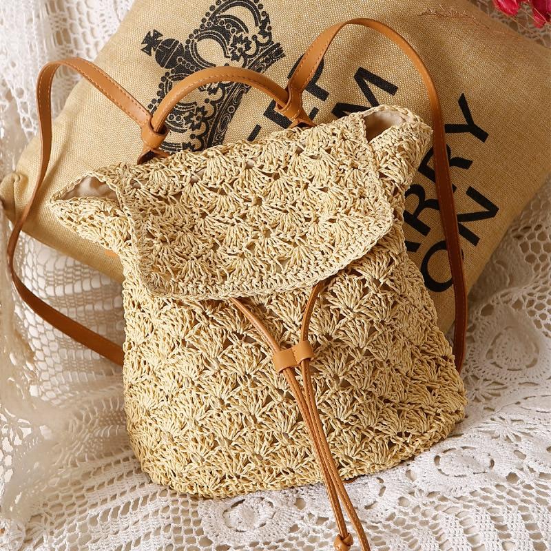 2018 New Women Straw Backpack Hollow-out Crochet Bag Popular Handmade Rattan female Summer Wicker Backpacks bolsa sac a main Сумка