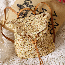 2018 New Women Straw Backpack Hollow-out Crochet Bag Popular Handmade Rattan female Summer Wicker Backpacks bolsa sac a main