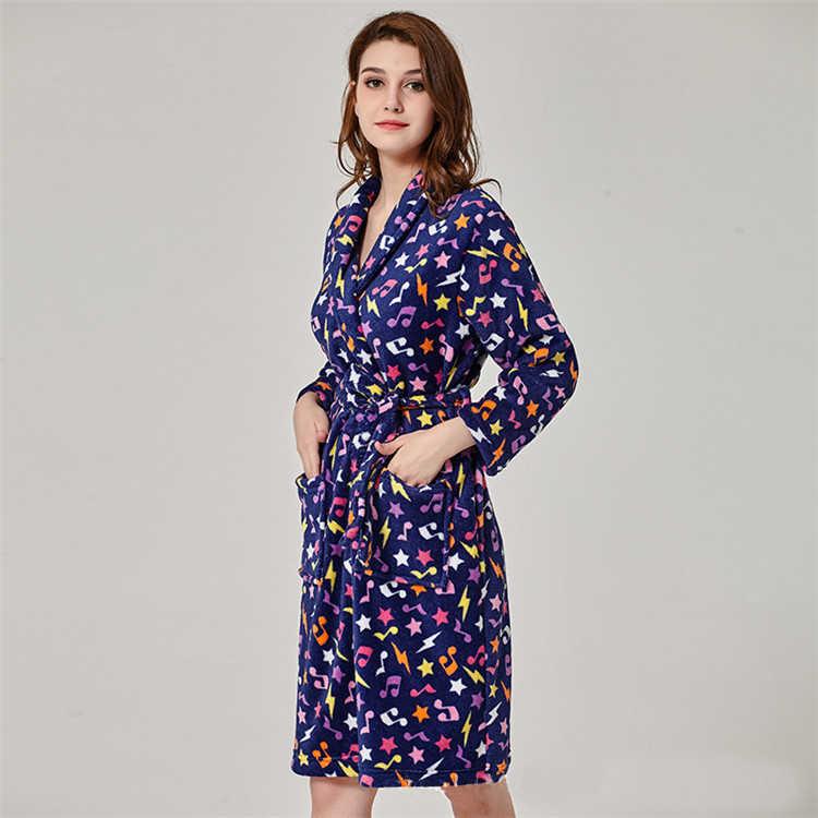 2018 Soft Warm Coral Fleece Bathrobe Female Autumn Winter Kimono Dressing  Gown Long Sleeve Pyjamas Sets c0224230b