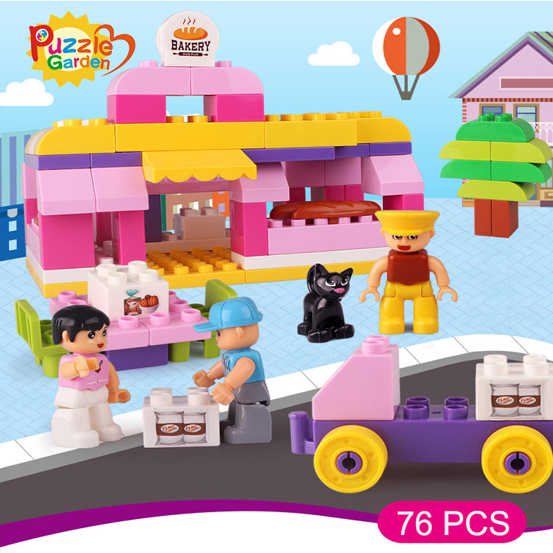 Educational Toys 76PCS Big Model Bricks Toys Compatible With Building Blocks Bakery Store for Children Christmas Gifts shirly new rest stop dream house building blocks compatible with lego bricks girl s educational toys birthday christmas gifts
