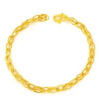 Fine Jewelry Real 24k Yellow Gold Bracelet Women Link Chain 3.82g