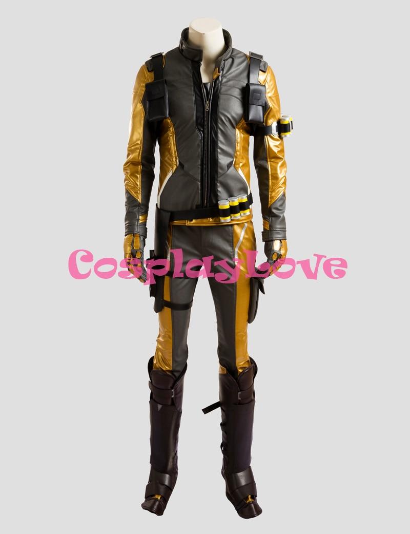 Gold Version Soldier 76 font b Jacket b font Cosplay Costume for Adult font b Men