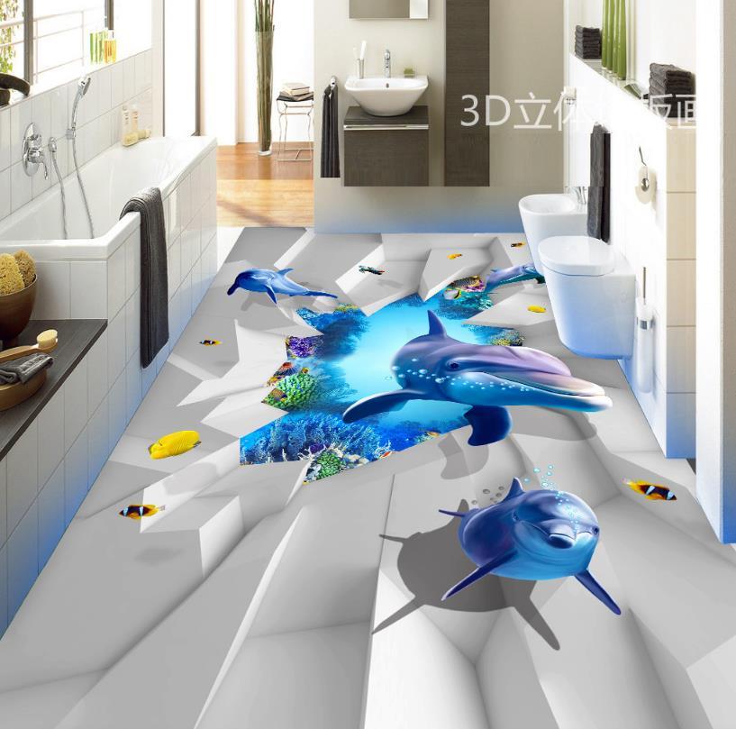 Modern 3d Floor Painting Vinyl Sticker roll Ocean World Self-adhesive Wallpaper 3d Flooring papel de parede do desktop 3d visual volcano floor vinyl wall sticker