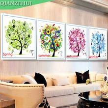 Stitch Diamond Painting QIANZEHUI Needlework Autumn And DIY Winter Summer Spring Seasons