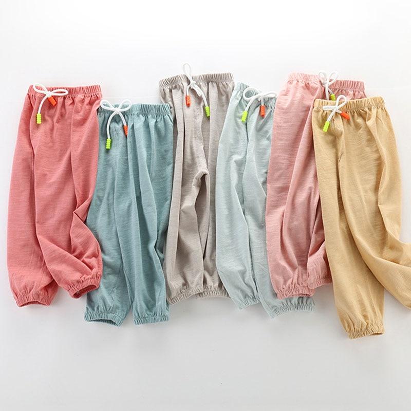 Summer Children Cotton Pants Thin Breathable Prevent Mosquito Pants Candy Color Boys Girls Pants|Pants| |  - AliExpress