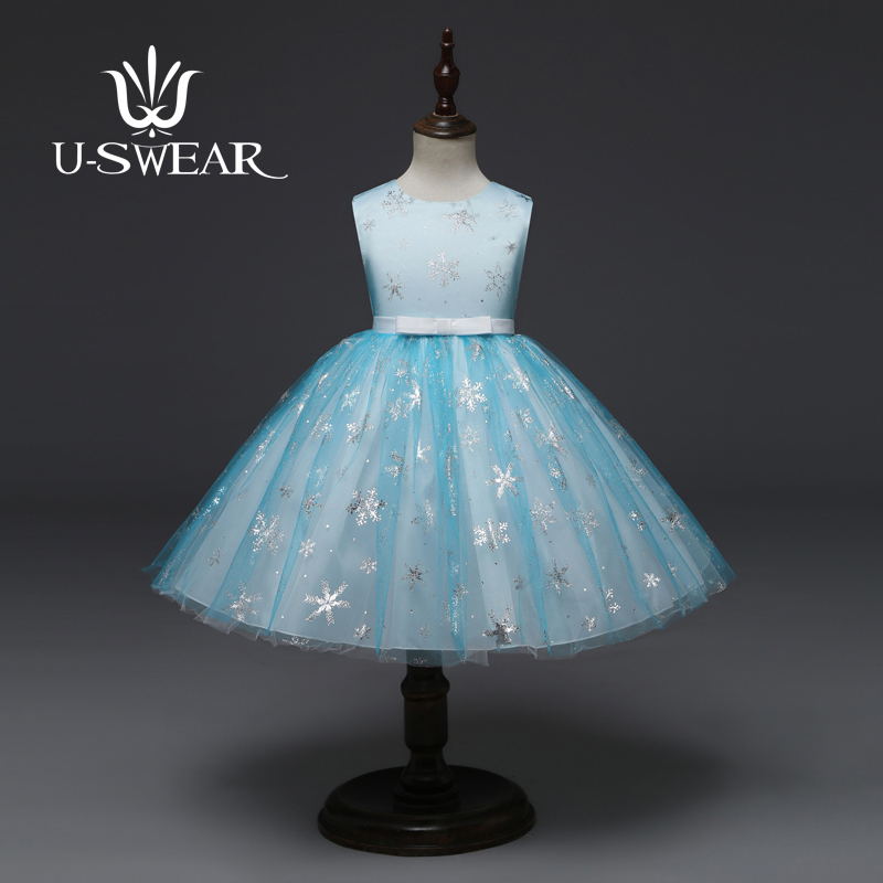 U-SWEAR 2019 New Arrival Kid   Flower     Girl     Dresses   O-neck Sleeveless Snow Sequined Embroidery Chiffon Pageant   Dresses   For   Girls