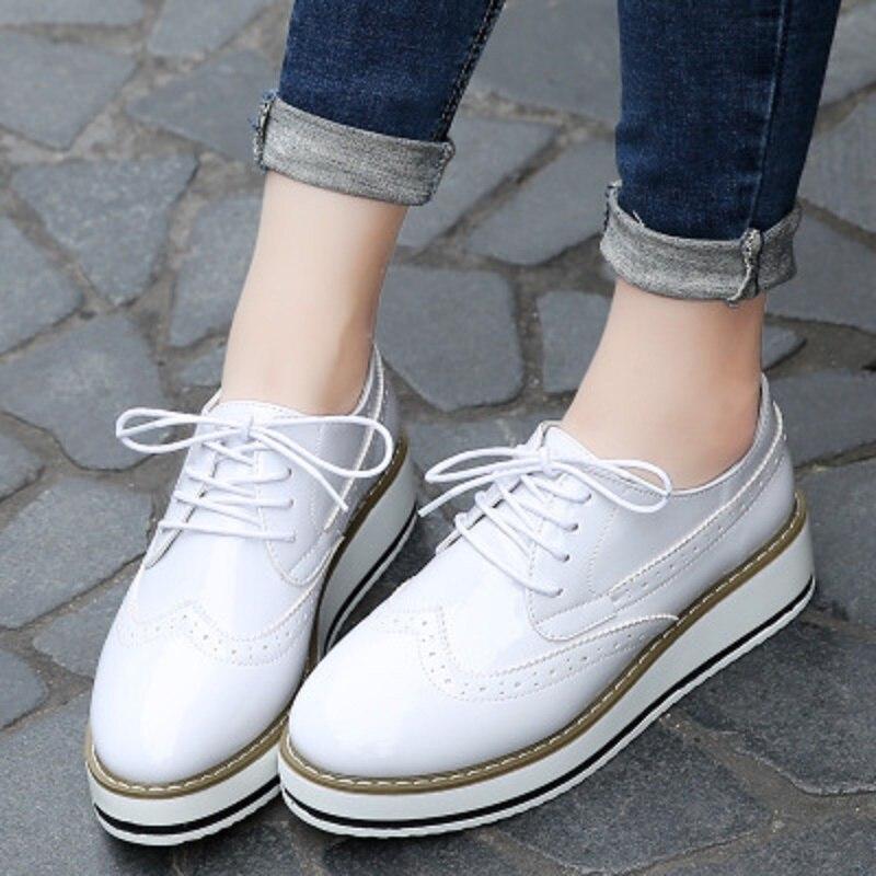 Dentelle Coréenne Printemps Le 2018 Femme En Cuir blanc Plates De Pointu Automne Noir Femmes Vers Chaussures Et Marque wR8qpRU