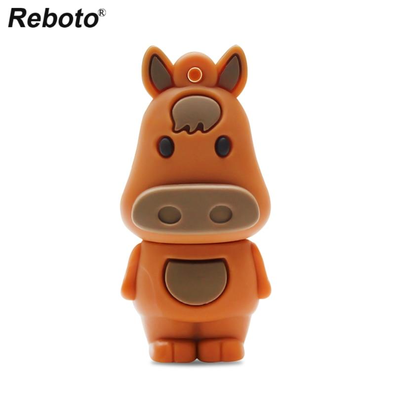 Retobo USB 2.0 Memory Stick Mini USB Pendrive Drive Animal Pen Drive Usb Stick Cartoon Zodiac Horse 8GB 16GB 32GB 64GB
