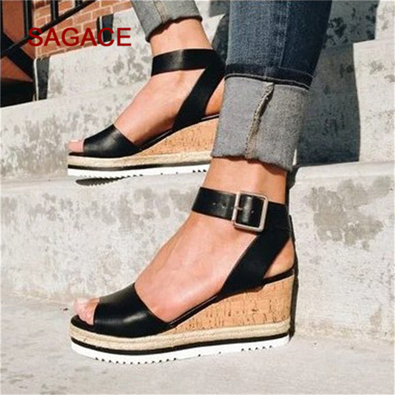 Wedges Shoes Roman Sandals Ankle-Platform Open-Toe Womens Fashion Ladies Mujer Retro