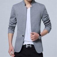 Male Suits Plus Size Blazer Men Mandarin Collar Americana Hombre Business Casual Silm Fit Blazer Masculino Pure Color Blazers