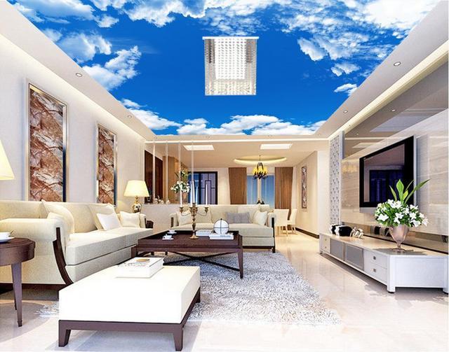 Vlies Tapete Sky Blue Sky Wolkendecke 3d Tapete Wohnzimmer Wand Dekoration  Mural 3d Wallpaper