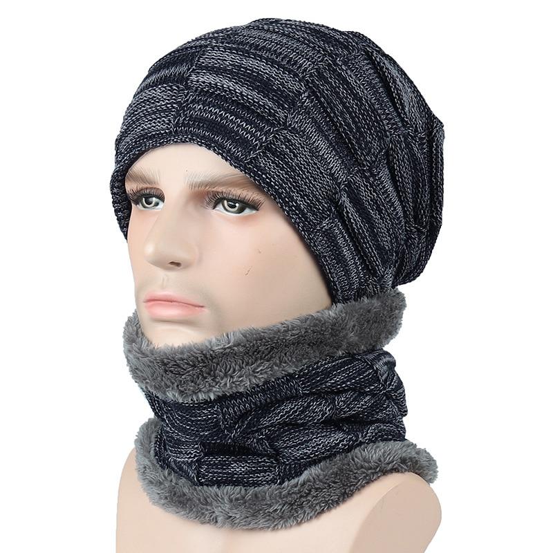 2018 Women Men Camping Hat Scarf Set Winter Plus Velvet Warm Hats Baggy Wool Fleece Cap Neckerchief Female Male Hats Collar Set