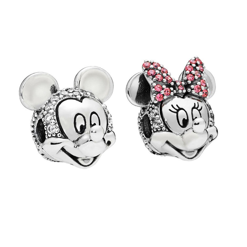 Original 925 Sterling Silver Minnie Miki Portra Clip Charm Bead Fits Pandora Bracelet Charm Silver 925 Beads DIY Making Jewelry