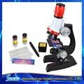 Crianças Brinquedo Barato 100X 400X 1200X Zoom Iluminado Monocular Microscópio Biológico para o Aniversário do Miúdo de Plástico Presente Educacional