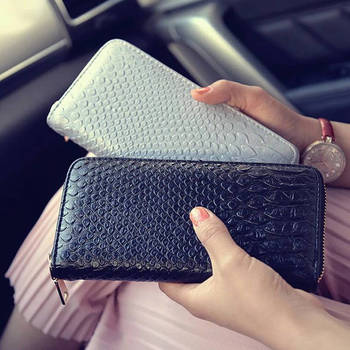 2019 Hot sales Women Wallet Luxurious PU Alligator Ladies Coin Purse Crocodile Long Clutch Female oney