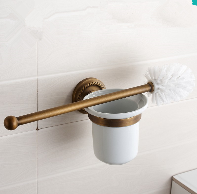 Clic Bathroom Accessories Antique Bronze Finish Toilet Brush Holder With Cup Creative Vintage Design Cleaning In Holders From