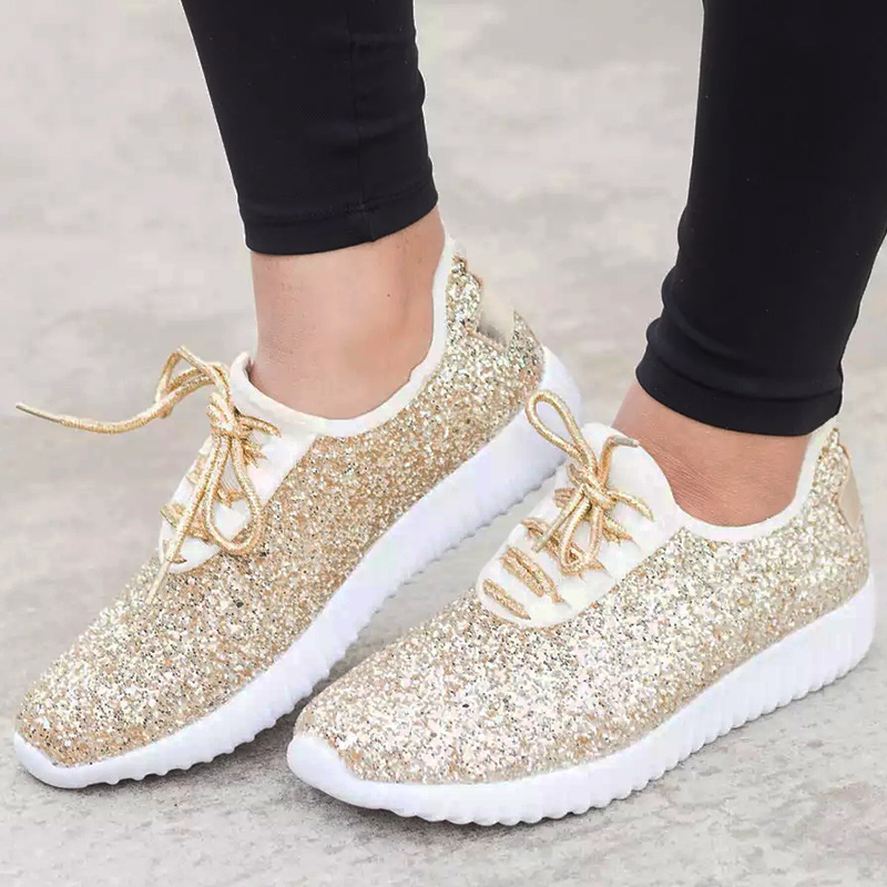 Large size 4.5-10.5 Women vulcanize shoes 2019 Spring Fashion sneakers for woman Sequined Cloth Glitter Casual shoes