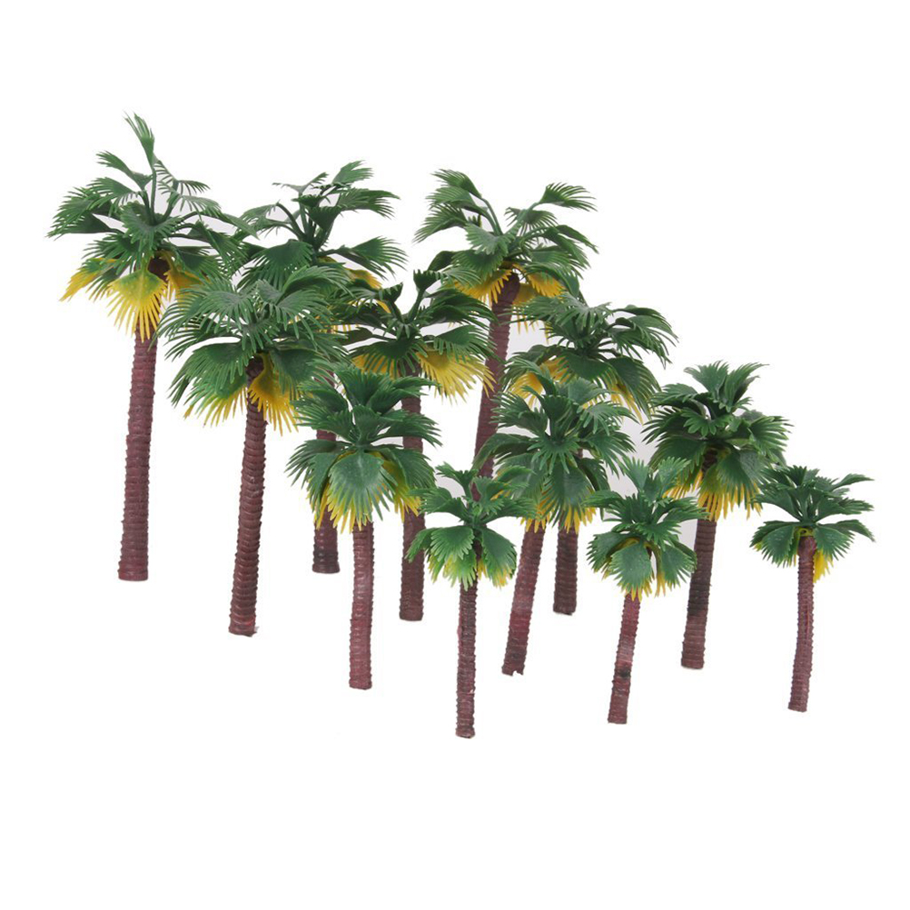 12pcs Layout Rainforest Plastic Palm Tree Diorama Scenery Model Artificial Palm Tree Leaves With High Quality