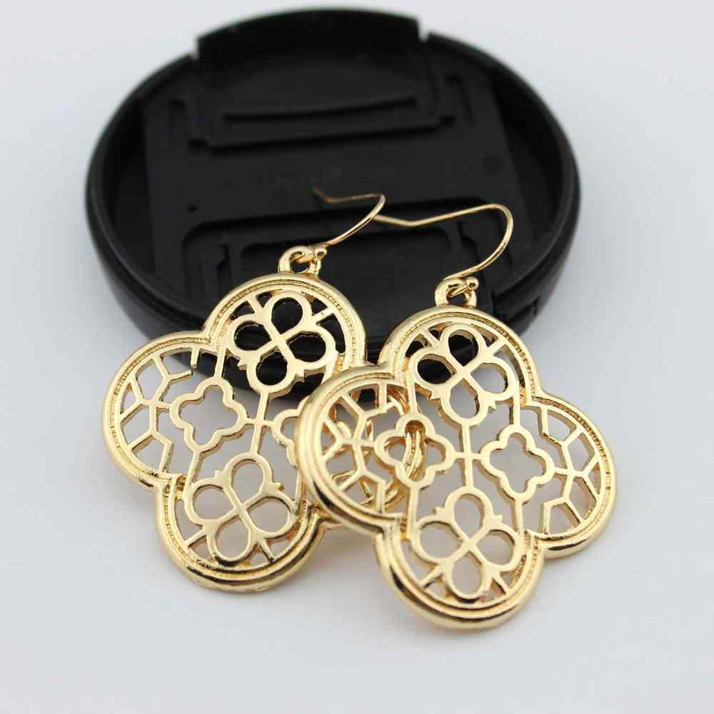 Fashion Unique Cut Out Quatrefoil Magnolia Hollow Clover Statement Dangle Drop Earrings for Women Jewelry Gift