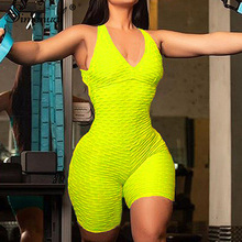Simenual Athleisure Casual Active Wear Push Up Playsuit Women V Neck Ruched Sporty Jumpsuit Shorts Sleeveless Sexy 2019