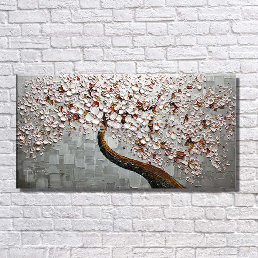 Горячие продажи ручная роспись маслом на холсте красивые цветы дерево для Гостиная стены Книги по искусству Домашний Декор абстрактные кар...
