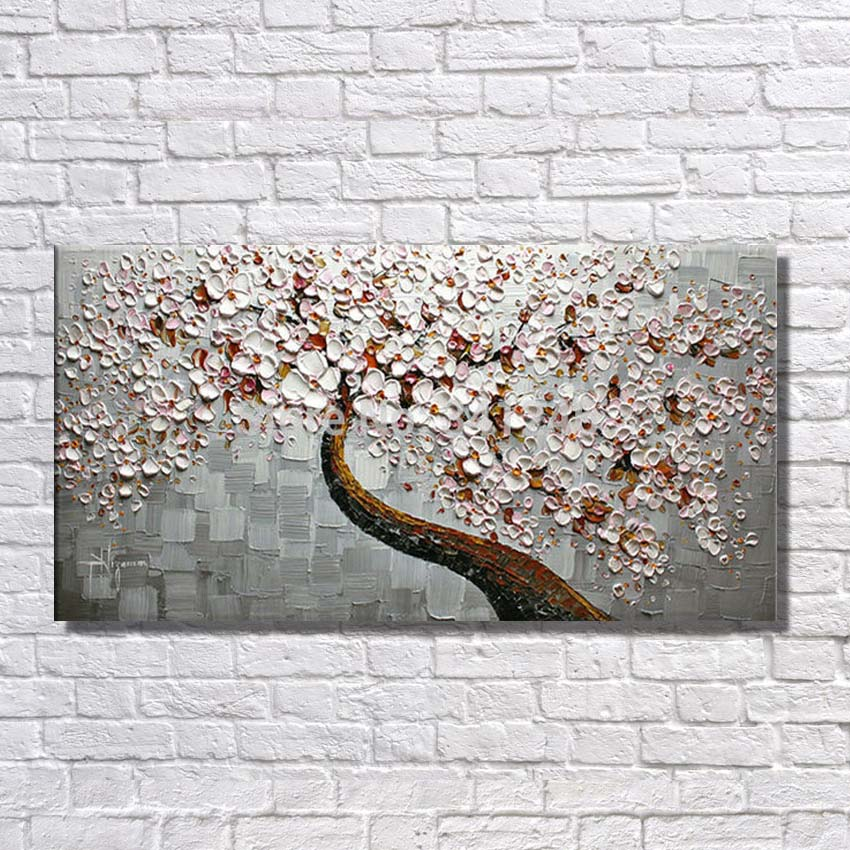 HOT sale Hand Painted Oil Painting on Canvas beautiful flowers tree For Living Room Wall Art Home Decor Abstract Picture unframe