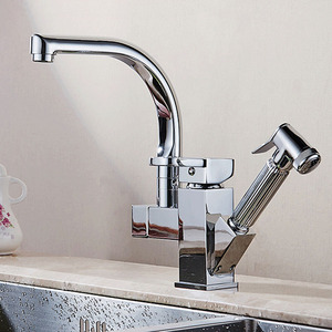 Image 2 - Polished Chrome Dual Spout Pull Out Kitchen Faucets Deck Mounted Shower Sprayer Kitchen Taps with Hot and Cold Water Pipes