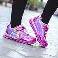 2017 Primavera/Outono Da Menina Das Crianças Esportes Sapatos Da Moda Sapatilha Crianças Sapatos Princesa Dos Desenhos Animados Esportes Sapatos Casuais Warterproof