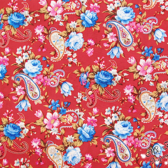 147CM Width Paisley pattern 100% cotton fabric Red poplin fabric ...