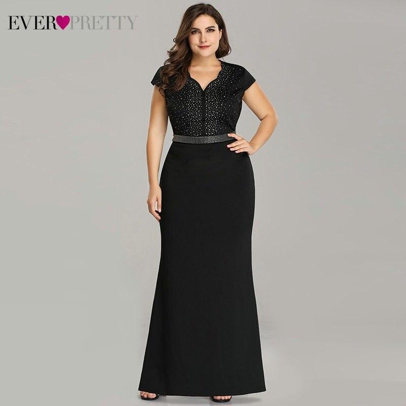 3d221042fa2e4 Plus Size Black Evening Gowns Ever Pretty EZ07623 2019 Elegant Mermaid  Sparkle V Neck Beaded Long