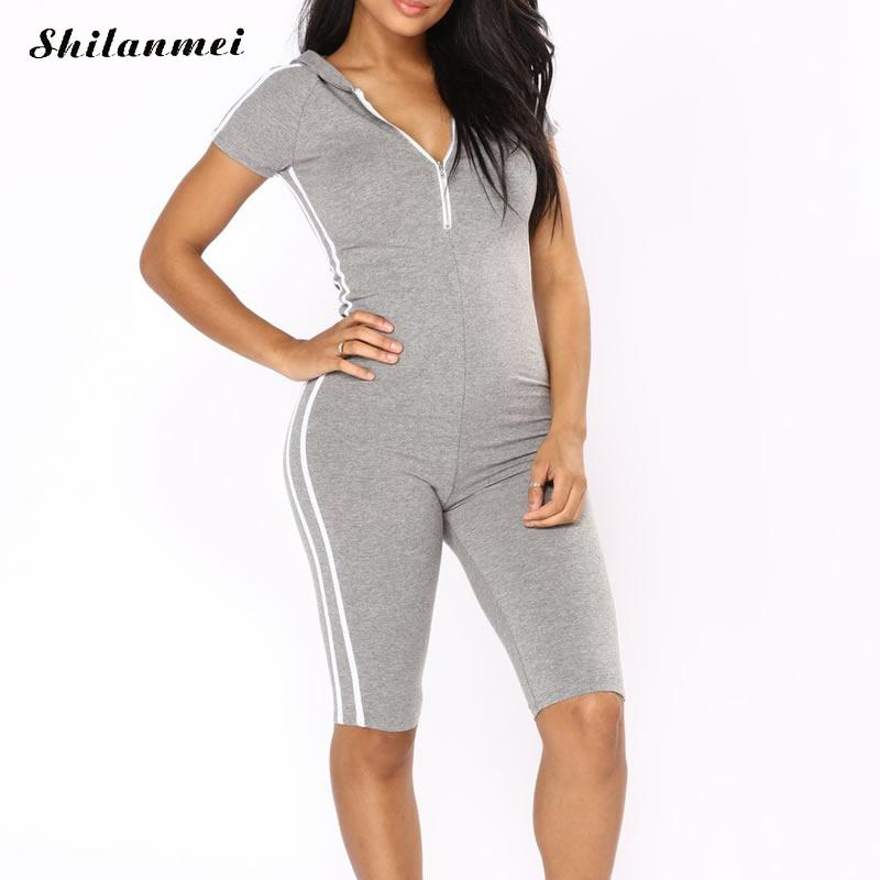 Casual 2018 Summer Overalls For Women Black Grey Striped Rompers Womens Jumpsuit Sexy Deep V Neck Skinny Body For Women Pantalon