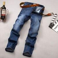 Odinokov Marca 2017 Dos Homens Novos da Chegada Calças Jeans de Alta Qualidade Cor Azul Fino Marca de Moda Plus Size calças de Brim Dos Homens