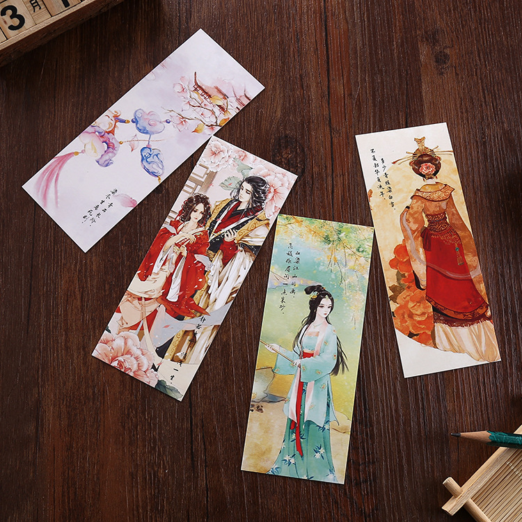 30pcs/set Chinese Tradtional Style Bookmark, Colorful Lovely Paper Book Notebook Bookmarks Promotion Gift School Supplies