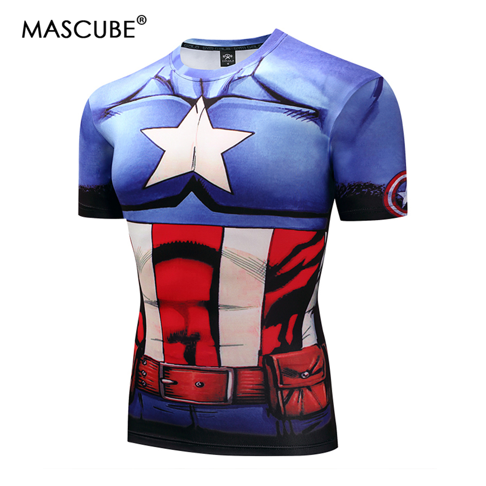 MASCUBE New 2018 Captain America Super Hero Lycra Compression Tights T shirt Men Fitness Clothing Short Sleeves S-4XL
