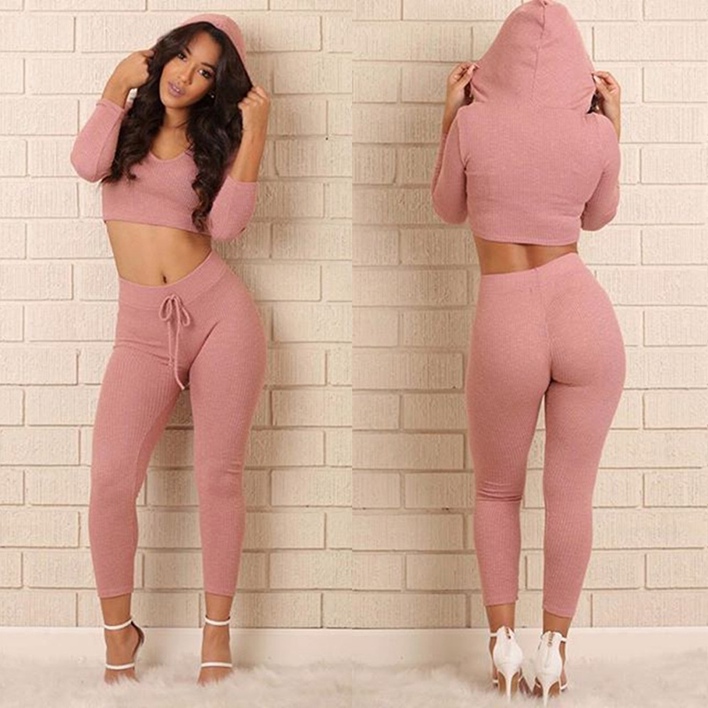 TWO PIECE SET Hoodie Tracksuit Elastic Sweat Suit Fitness Winter For Women Knitting Sweatsuit Leggings Outfit Work Out Twinset